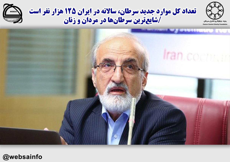 تعداد کل موارد جدید سرطان، سالانه در ایران ۱۲۵ هزار نفر است /شایعترین سرطانها در مردان و زنان
